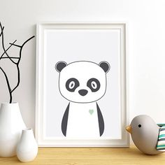 Animal nursery art Nursery art print Panda Cute baby