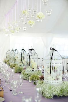 love birds theme #wedding cage centrepieces