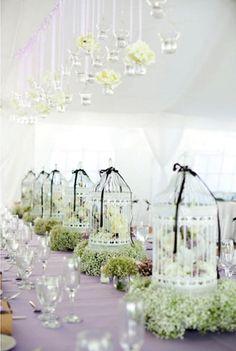 love birds theme #wedding cage centrepieces