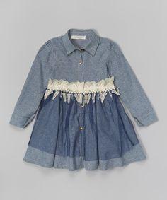 Blue & Lace Fern Shirt Dress - Infant, Toddler & Girls