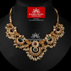 Buy Necklaces Online | Chandrika Chandbali Necklace With Guttapusalu from Kameswari Jewellers