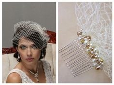 Birdcage veil with pearls - retro bridal look wedding hair ideas - I have made this beautiful veil using vintage style Russian Veiling. The veil measures 9 long. The comb of the veil is adorned with ivory and champagne pearl beands and sparkly rhinestones. I will include 2 extra bobby pins with the veil so you can use them to give it the desired shape and create the look you want for your wedding. I welcome custom orders and would love to work with you on your unique accessory. Because each…