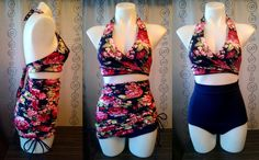 3 piece set Reversible Top High waist bottoms and Adjustable Cover Up Skirt and  in Love Blooms Navy & Navy