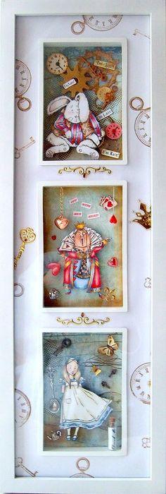 Alice in Wonderland,The Altered Alice http://alteredalice.blogspot.com/2010/10/shadowbox-queen-of-hearts-in-in-da.html Wonderland Shadowbox, White Rabbit