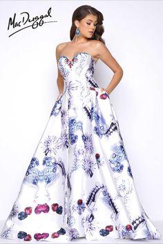 Strapless Mikado print prom dress