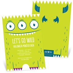 Halloween Invitations -- Googly Eyed Monster #scary #party #spooky