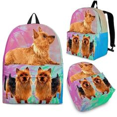2d3474bb0d89e Australian Terrier Dog Print Backpack-Express Shipping – BreedPad