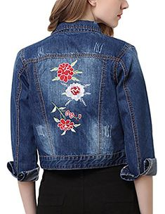 d447f8d4a9 Upside-down Women s Emboridery Denim Jacket Slim Fit Long Sleeve Jean Coat