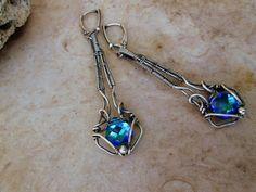 sterling silver  aqua swarovski crystal by EdisLittleTreasures, $62.00