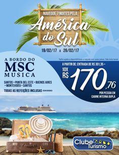 Reserve já sua primeira grande aventura de 2017 a bordo do MSC Musica com a Clube Turismo!   Com saída de Santos, o cruzeiro te leva pra conhecer o melhor da nossa incrível América do Sul, confira: