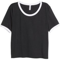 H&M Crop top (€9,79) ❤ liked on Polyvore featuring tops, t-shirts, shirts, crop top, t shirt, black, black crop tee, h&m shirts, sleeve crop top and h&m