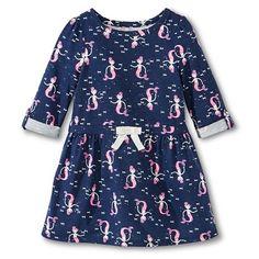 Infant Toddler Girls Mermaid Roll Sleeve Dress - Nightfall Blue