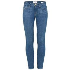 Frame Denim Le Skinny Jeans ($345) ❤ liked on Polyvore featuring jeans, blue, blue jeans, mid-rise jeans, stretch denim jeans, zipper jeans and mid rise skinny jeans