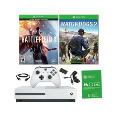 "Xbox One S 4K Ultra HD 500GB White Console with ""Battlefield 1"" and ""Watch Dogs 2"" Games and Battery Pack"