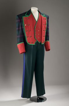 Jacket of green and blue tartan with red lapels, part of a man's mess outfit: English, London, by Tommy Nutter, 1989