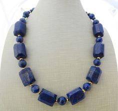 Collana con lapislazzuli blu naturali, gioielli con pietre dure, bijoux
