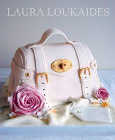 """Little Pink Bag"" cake by Laura Loukaides Fondant Cakes, Cupcake Cakes, Fondant Bow, 3d Cakes, Fondant Tutorial, Fondant Flowers, Fondant Figures, Gorgeous Cakes, Amazing Cakes"