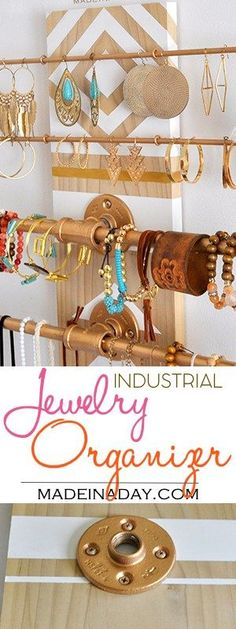 Wall Industrial Jewelry Organizer madeinaday.com #JewelryDisplays