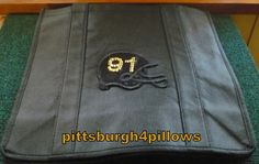 Football Helmet Tote Bag - No. 91 - 12 x 12 - Non Woven Polypropylene by pittsburgh4pillows on Etsy