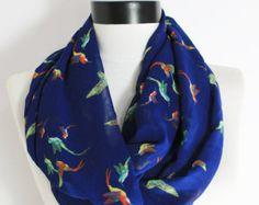 bird, bird scarf, animal scarf, chiffon scarf, gift scarf, boho scarf, loop scarf, infinity scarf