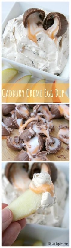 Cadbury Creme Egg Dip - A sweet and creamy marshmallow dip filled with bits of chocolate and swirled with white and yellow fondant filling from decadent Cadbury Creme Eggs.