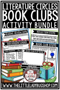 Grow your readers with this Book Club Activities BUNDLE! It has everything you need to get your students started on literature circles! From Flip Books, to Games this BUNDLE is jammed packed! This literature circles activities bundle is perfect for students in 3rd grade, 4th grade and 5th grade. #bookclubactivities #readingresponse #literaturecircles #bookclubs #readingreflection #literaturecircleactivities #readinggames