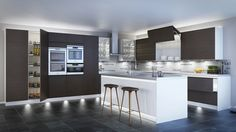 Full lighting set, using mood and task lighting in a modern kitchen.