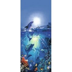 Dolphin in the Sun Giant Door Poster Art Print - 34x79 custom fit with RichAndFramous Black 34 inch Poster Hangers by Poster Revolution, http://www.amazon.com/dp/B005PNS18K/ref=cm_sw_r_pi_dp_rjfKrb0NHG932