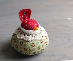 Small Red Floral Bird on Green Floral Pincushion by SeaPinks