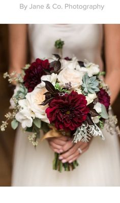 Early fall bridal bouquet Blush, maroon, grey Garden roses, dahlias, seeded eucalyptus, dusty miller, succulents, freesia, spray roses