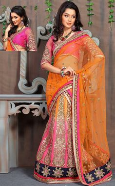 USD 139.73 Orange A Line Embroidery Wedding Lehenga Saree 29982