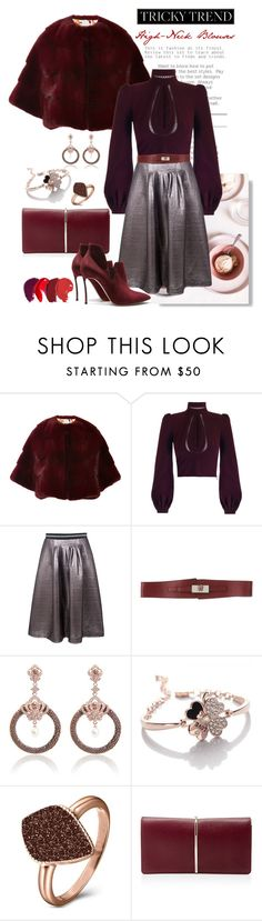 """""""DOH Style 'Romantic High-Neck Blouses'"""" by dohinstyle ❤ liked on Polyvore featuring Monique Lhuillier, Markus Lupfer, John Richmond, H.AZEEM, Nina Ricci, Casadei, women's clothing, women's fashion, women and female"""