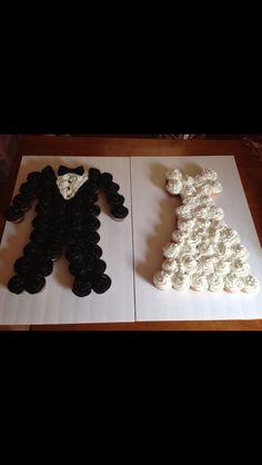 tuxedo & gown wedding cupcakes