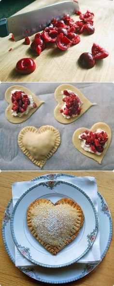 For grandpa - Sweetheart Cherry Pies. Just put a little whipped cream cheese, give it a sprinkle of sugar on top the cream cheese, then top with very finely chopped berries. Just Desserts, Delicious Desserts, Dessert Recipes, Yummy Food, Yummy Treats, Sweet Treats, Kreative Desserts, Whipped Cream Cheese, Cupcakes