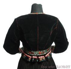 ETHNIC JACKET Slovak folk costume black velvet red floral ribbon trim KROJ cool! Folk Costume, Costumes, Motorcycle Jacket, Bomber Jacket, Floral Ribbon, Black Velvet, Ethnic, Leather Jacket, Red