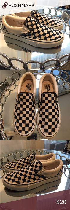 Vans black and white checkered slip-on Worn several times, see pics for condition. Still have a lot of life in them. Great option if you want a pair but don't want to pay full price. Vans Shoes Sneakers