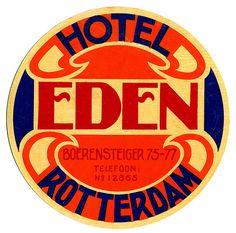 Hotel Eden - Rotterdam  luggage label