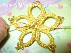 TUTO fleur perle frivolite aiguille (9)   frivolitky s korálkami robené s ihlou