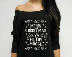 UGLY Christmas Sweater, Merry Christmas ya Filthy Muggle, Funny Christmas Sweatshirt, Cute Christmas Shirt, Off Shoulder Christmas Sweater