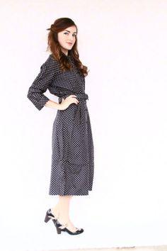 polka dot dress / 40s dress / 1940s dress  by aLaPlageVintage, $110.00