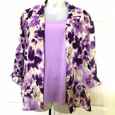 Alfred Dunner 2-pc Floral Blouse Plus Size 24W This is a 2-pc blouse with purple floral print. It has very lovely bell-shaped sleeves and sleeveless top underneath. Barely used. Plus size 24W. Alfred Dunner Tops Blouses
