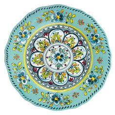 Madrid Turquoise Melamine Dinner Plates S/4