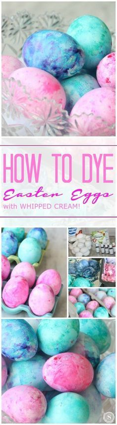 How to Dye Easter Eggs with Whipped Cream. This is a Great Easter Idea for Kids that you can dye eggs with a Swirl or Marble Look using Whipped Cream which is safer than Dying Easter Eggs with Shaving Cream.
