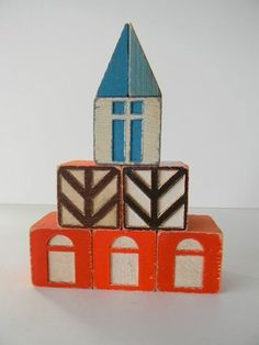 Vintage Scandinavian House Blocks