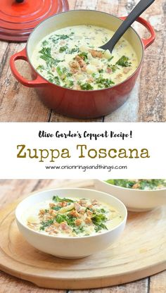 Chock-full of spicy Italian sausage, tender potatoes, bacon bits and kale leaves, this copycat of Olive Garden's Zuppa Toscana makes a hearty, meal-in-itself soup.
