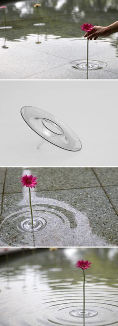 Japanese Floating Vase looks like water ripples. How awesome! Deco Floral, Cool Inventions, Deco Design, Cool Stuff, Projects To Try, Concept, Diy Crafts, Crafty, Water Ripples