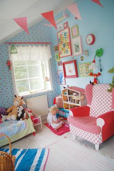 Blue and pink kids room. So cute!