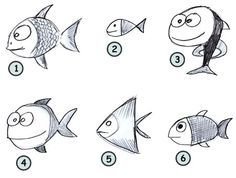 how to draw funny fish | Go back to How to draw cartoon animals from the farm