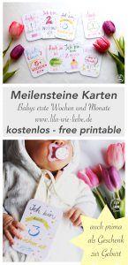 Baby Meilensteine Karten - Gratis Druckvorlage (free printable)