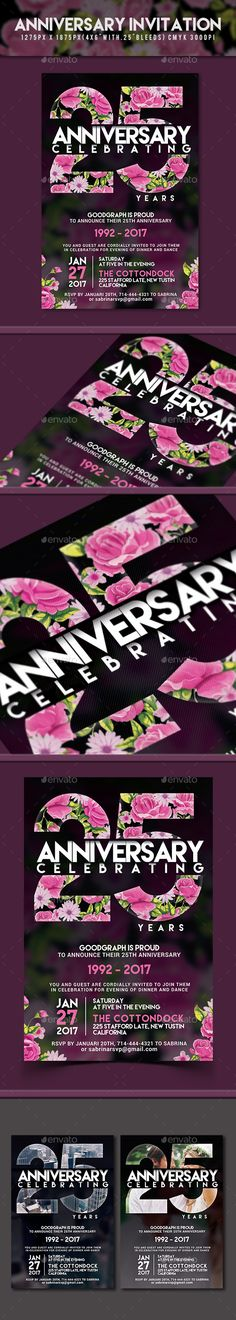 Anniversary Invitation — Photoshop PSD #party invitation #company anniversary • Available here → https://graphicriver.net/item/anniversary-invitation/18681125?ref=pxcr